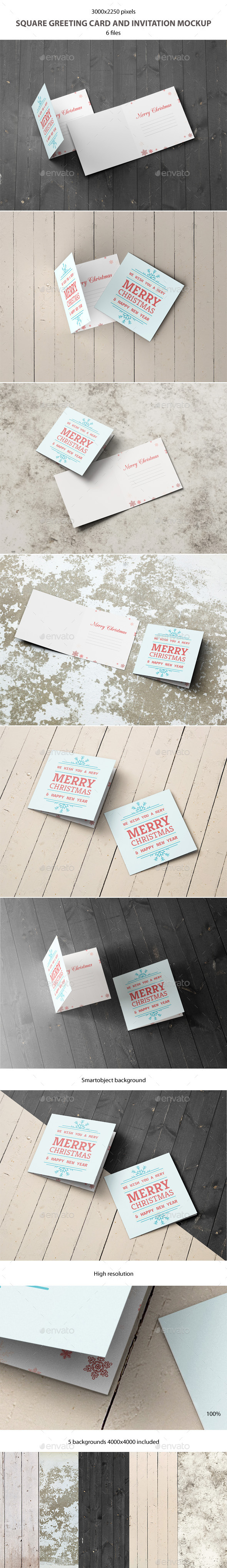 GraphicRiver Square Greeting Card and Invitation Mockup 9284803