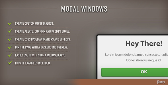CodeCanyon Modal Windows jQuery 9277542