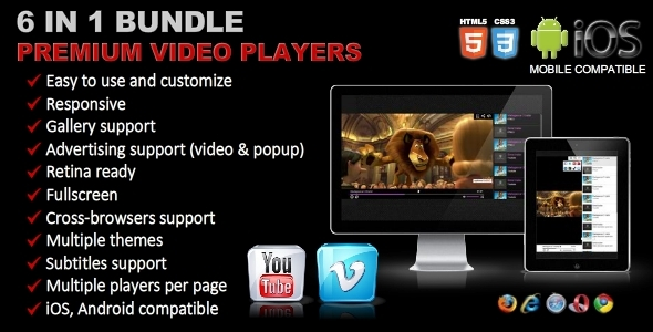 CodeCanyon Premium Video Players Bundle 6 in 1 9257975