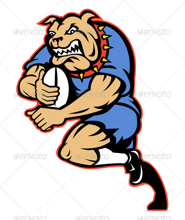 Graphic River Bulldog Rugby Player Running With Ball Vectors -  Characters  Animals 947687