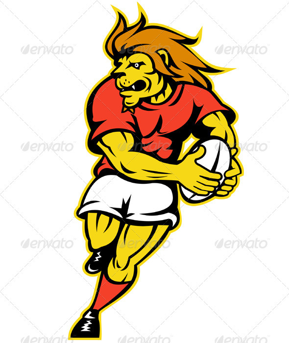 Graphic River Lion Rugby Player Running With Ball Vectors -  Characters  Animals 947688