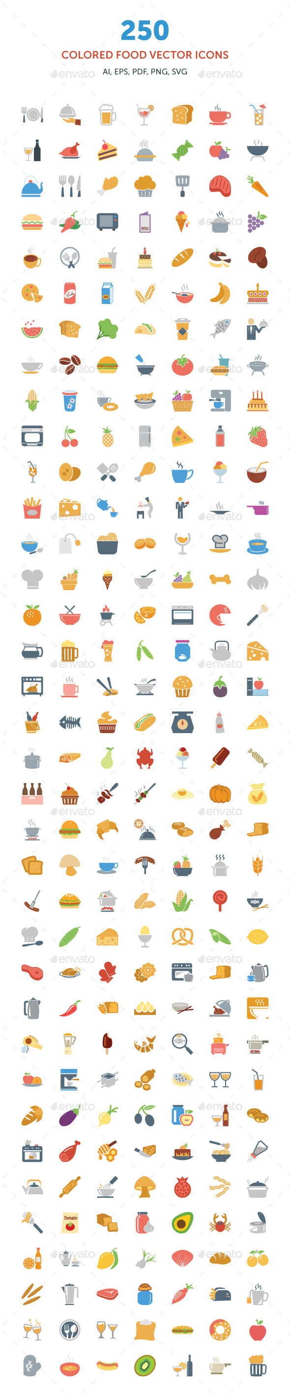 GraphicRiver 250 Colored Food Vector Icons 9284879