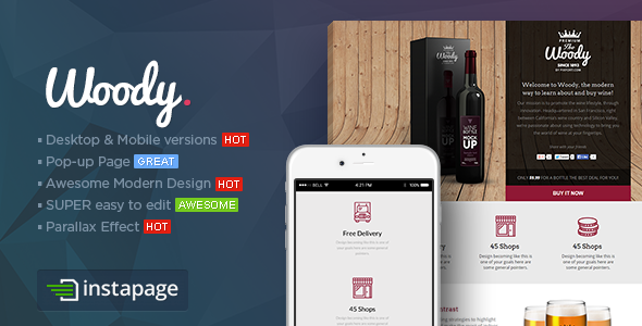ThemeForest Woody Drink Shop Instapage Landing page Template 9286111