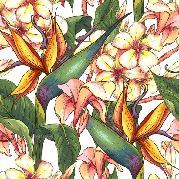 GraphicRiver Tropical Seamless Pattern with Exotic Flowers 9286593