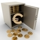 3d illustration of steel safe with euro sign inside - PhotoDune Item for Sale