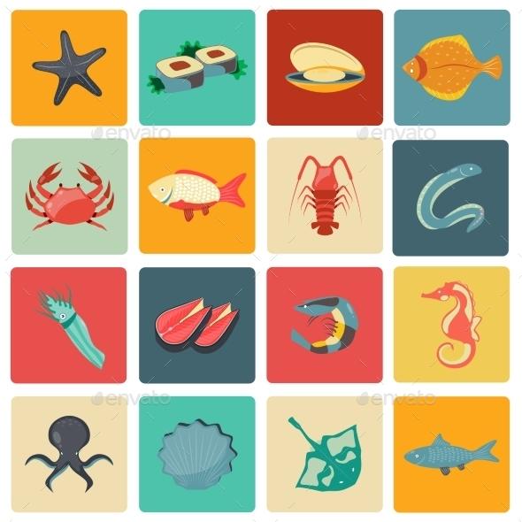 GraphicRiver Seafood Icons Set 9286753