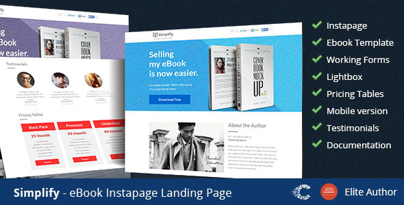 ThemeForest Simplify eBook Instapage Landing Page Templates 9286848
