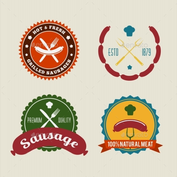 GraphicRiver Sausage Badges Vintage Vector Set 9286905