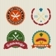 Sausage Badges Vintage Vector Set - GraphicRiver Item for Sale