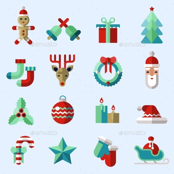 GraphicRiver Christmas Icons Set Colored 9286906