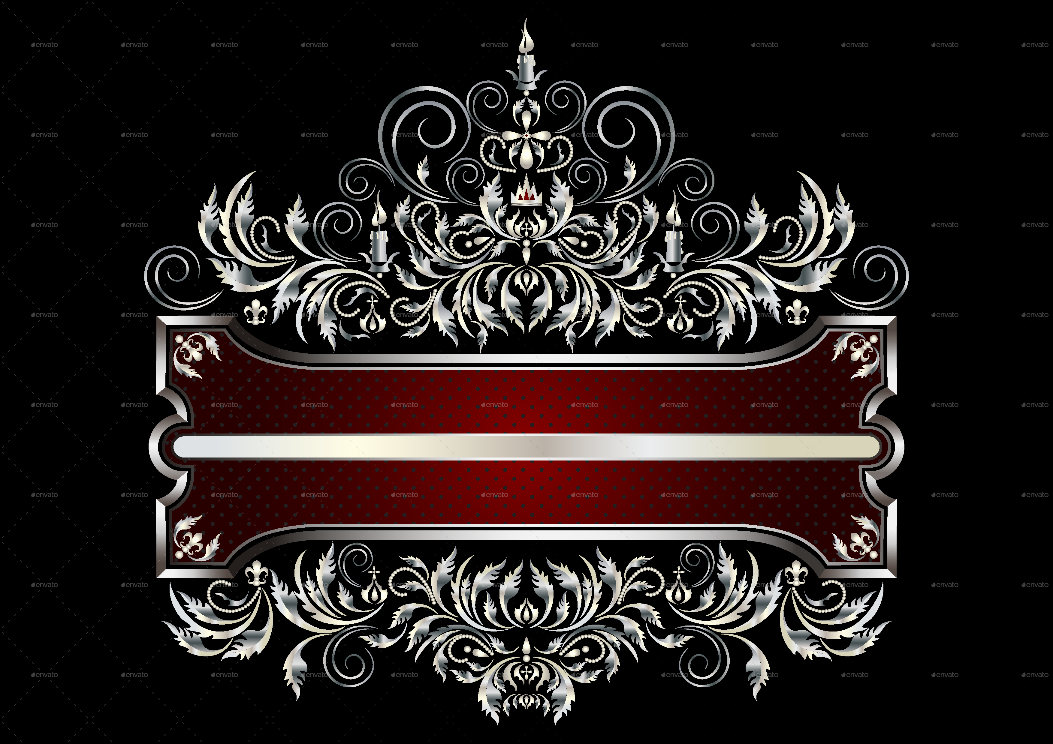 Silver frame with victorian style decor by tatyanamh graphicriver for Envato graphicriver