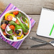 Fresh healthy salad and notepad for copy space - PhotoDune Item for Sale