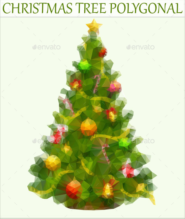 GraphicRiver Christmas Tree Polygonal 9287359