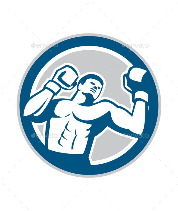 GraphicRiver Boxer Boxing Boxing Circle Retro 9288077