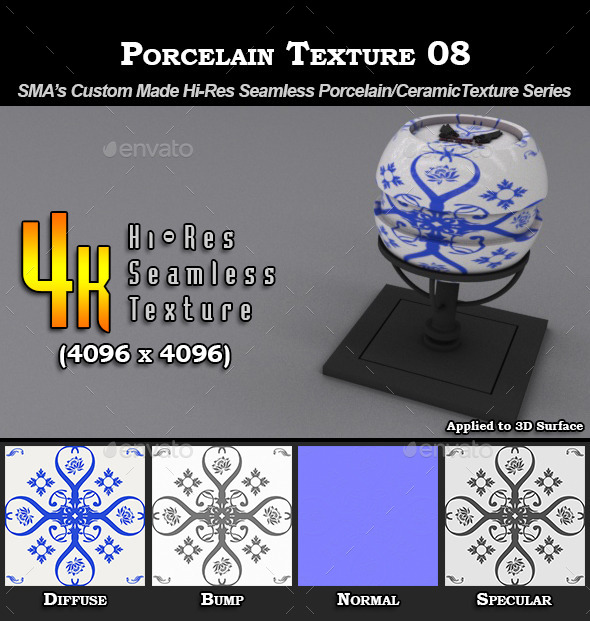 Hi-Res Porcelain Texture - 08 - 3DOcean Item for Sale