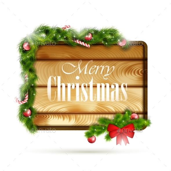GraphicRiver Wooden Board With Christmas Attributes 9288414