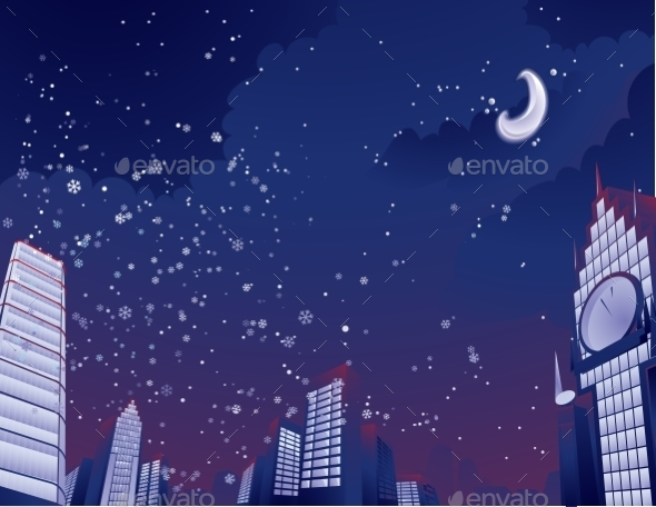 GraphicRiver Night City Landscape 9288415