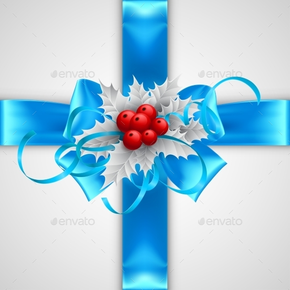 GraphicRiver Blue Bow with Christmas Decorations 9288558