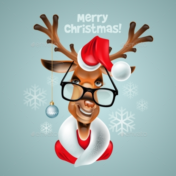GraphicRiver Reindeer Hipster Santa Claus 9288575