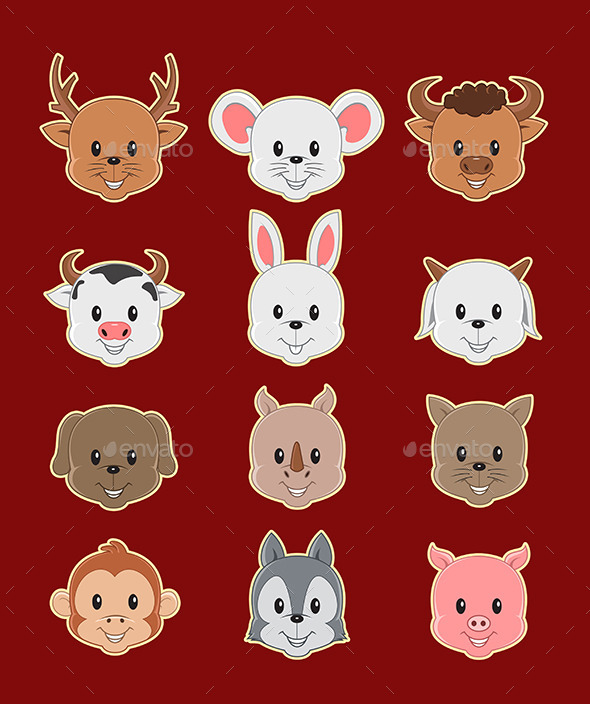 GraphicRiver 12 Face Cute Animal 9289177