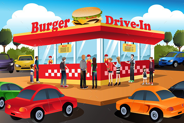 GraphicRiver People Ordering Hamburger at a Drive-In 9289197