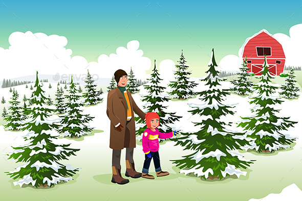 GraphicRiver Father and Son Shopping for a Christmas Tree 9289205