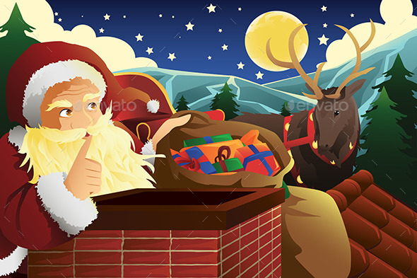 GraphicRiver Santa Claus with Sleigh Full of Christmas Presents 9289216