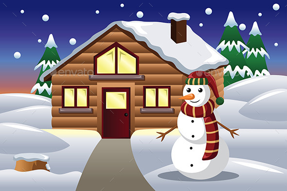 GraphicRiver Snowman in Front of a House 9289223