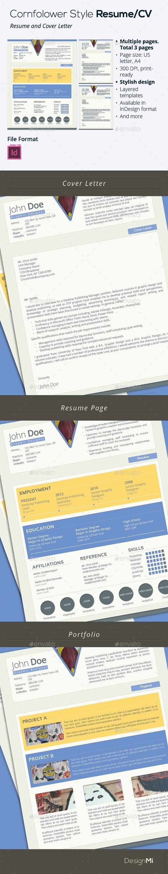 GraphicRiver Cornflower Style Resume CV 3 pages 9289366
