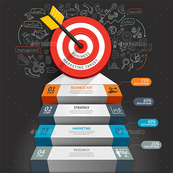 Business Staircase Conceptual Infographics