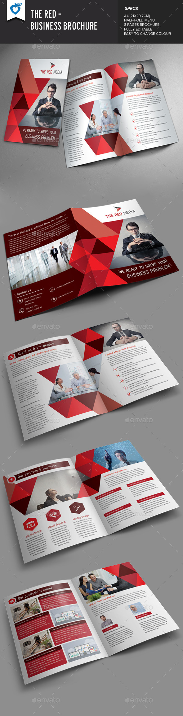 GraphicRiver The Red Business Brochure 9253897