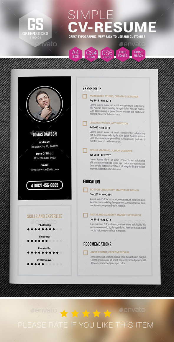 GraphicRiver Simple Resume 9289841