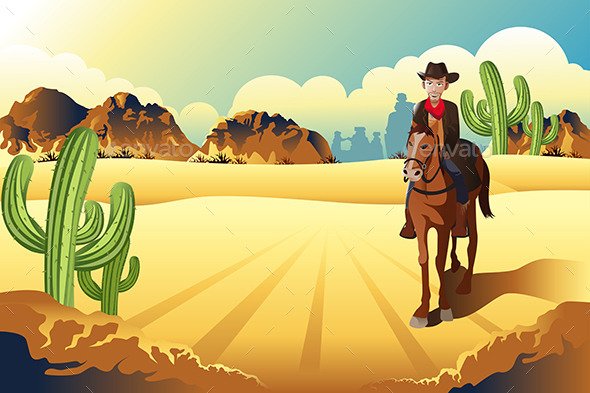 GraphicRiver Cowboy Riding a Horse 9289907