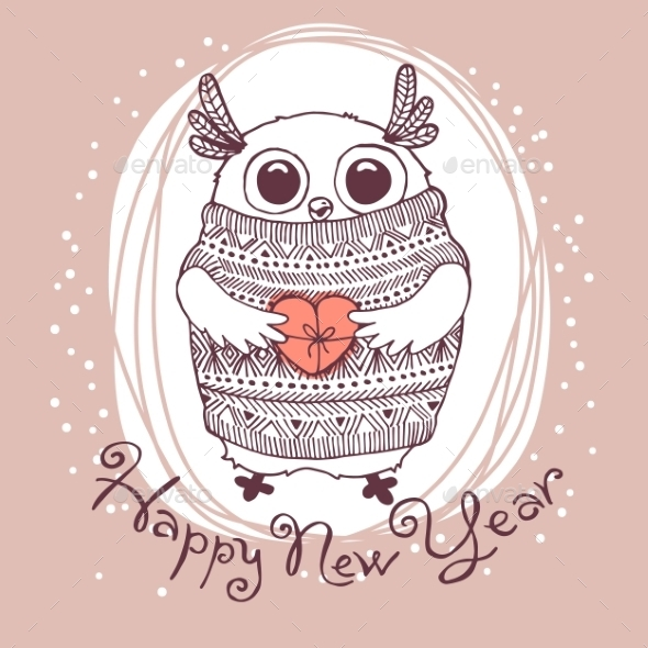 GraphicRiver Owl Illustration Happy New Year 9290059