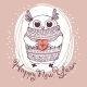 Owl Illustration Happy New Year - GraphicRiver Item for Sale