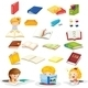 Students and Their School Supplies - GraphicRiver Item for Sale