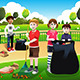 Kids Volunteering cleaning up the Park - GraphicRiver Item for Sale