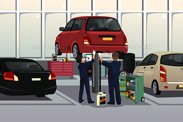 GraphicRiver Auto Mechanic Fixing a Car Under the Hood 9290310
