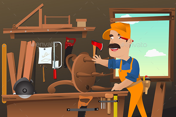 GraphicRiver Carpenter Working Making a Chair 9290348