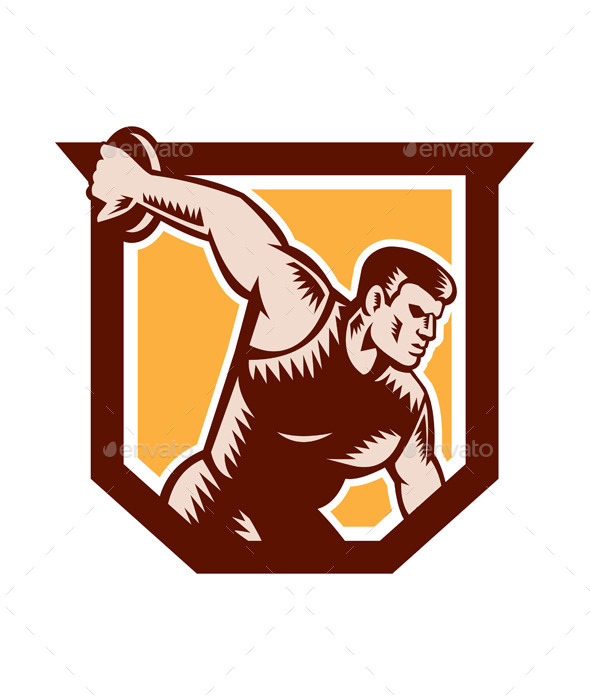 GraphicRiver Discus Thrower Shield Woodcut 9290525