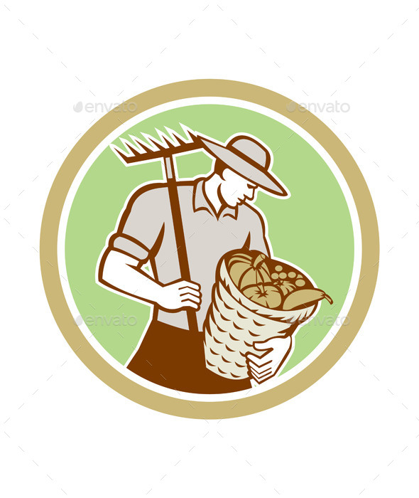 GraphicRiver Organic Farmer Holding Rake Harvest Basket Retro 9290560