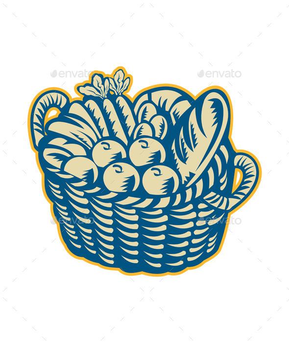 GraphicRiver Crop Harvest Basket Retro 9290567