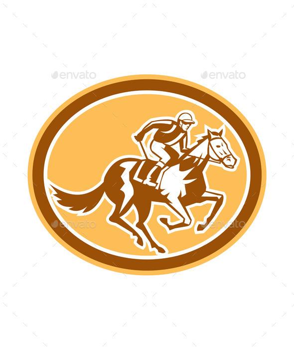 GraphicRiver Jockey Horse Racing Oval Retro 9290596