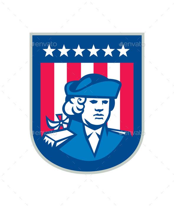 GraphicRiver American Patriot Head Bust Shield Retro 9290691