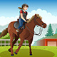 Little Girl Riding a Horse - GraphicRiver Item for Sale