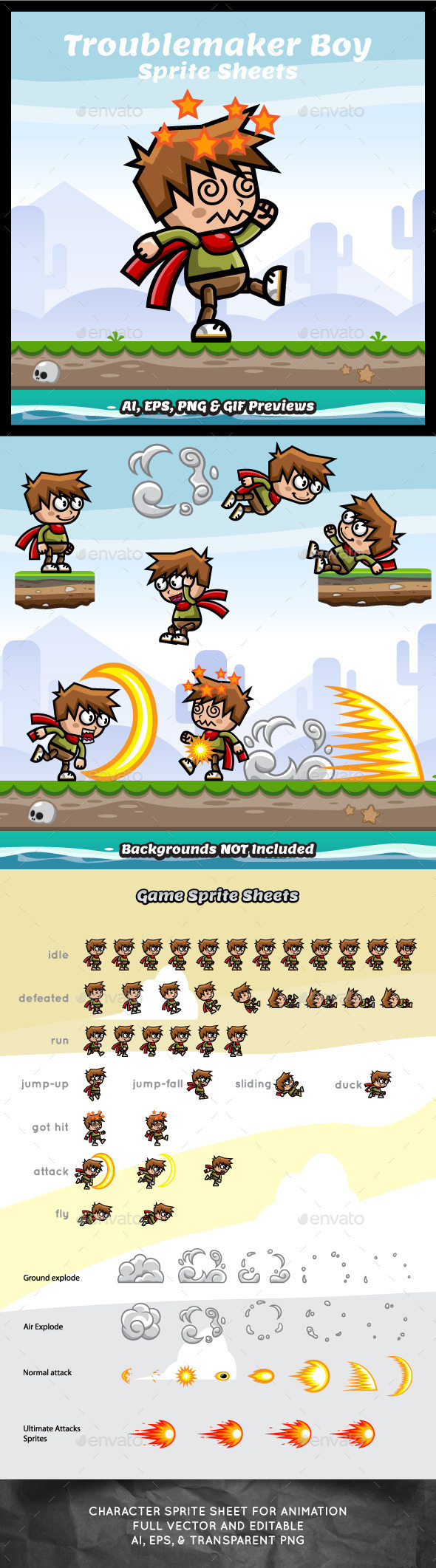 GraphicRiver Troublemaker Boy Game Asset Sprite Sheets 9290884