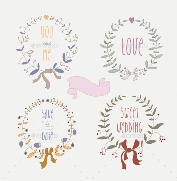 GraphicRiver Hand Drawn Set of Wedding Wreaths and Ribbons 9290889