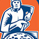 Pizza Maker Holding Pizza Peel Shield Woodcut - GraphicRiver Item for Sale