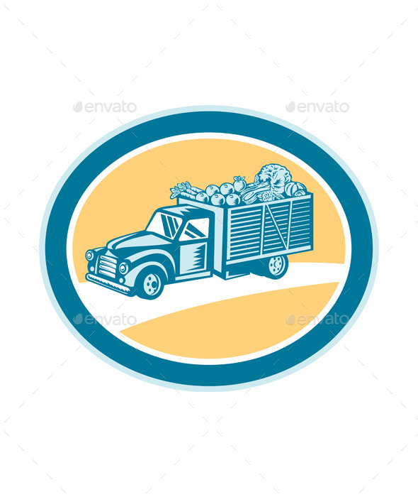 GraphicRiver Vintage Pickup Truck Delivery Harvest Retro 9290898