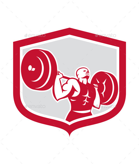 GraphicRiver Weightlifter Lifting Barbell Shield Retro 9290922